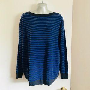 GAP Wool Blend Oversized Blue Striped Sweater